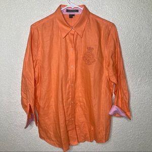 Lauren Ralph Lauren Linen Button Down Shirt Size L